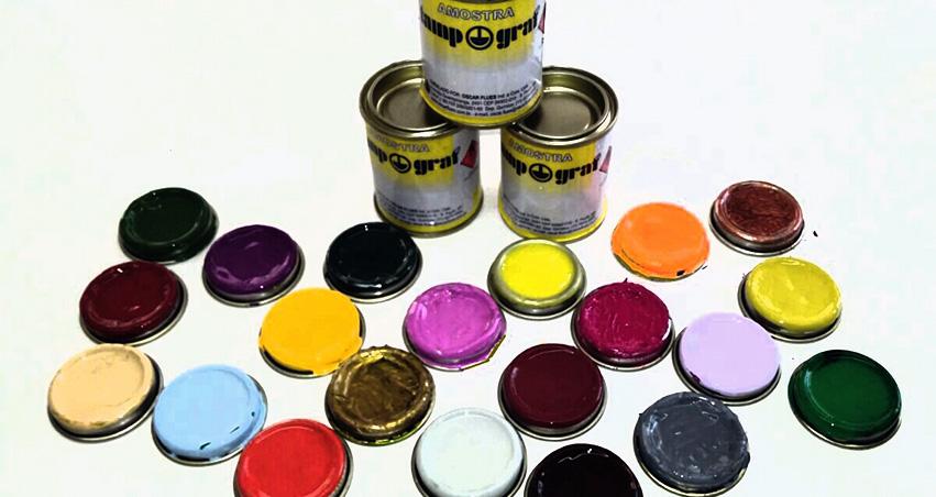 Tintas para tampografia em tonalidades especiais em embalagens de 100 gramas